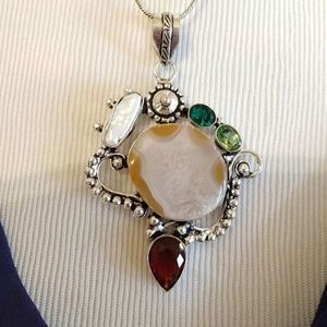 Solar quartz biwa pearl garnet peridot pendant